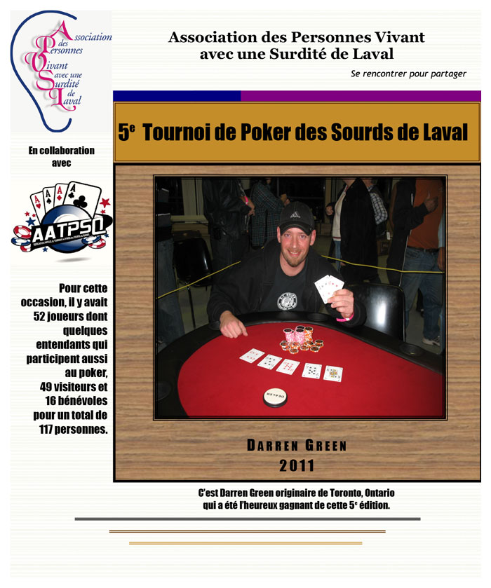 5e Tournoi de Poker des Sourds de Laval 2011